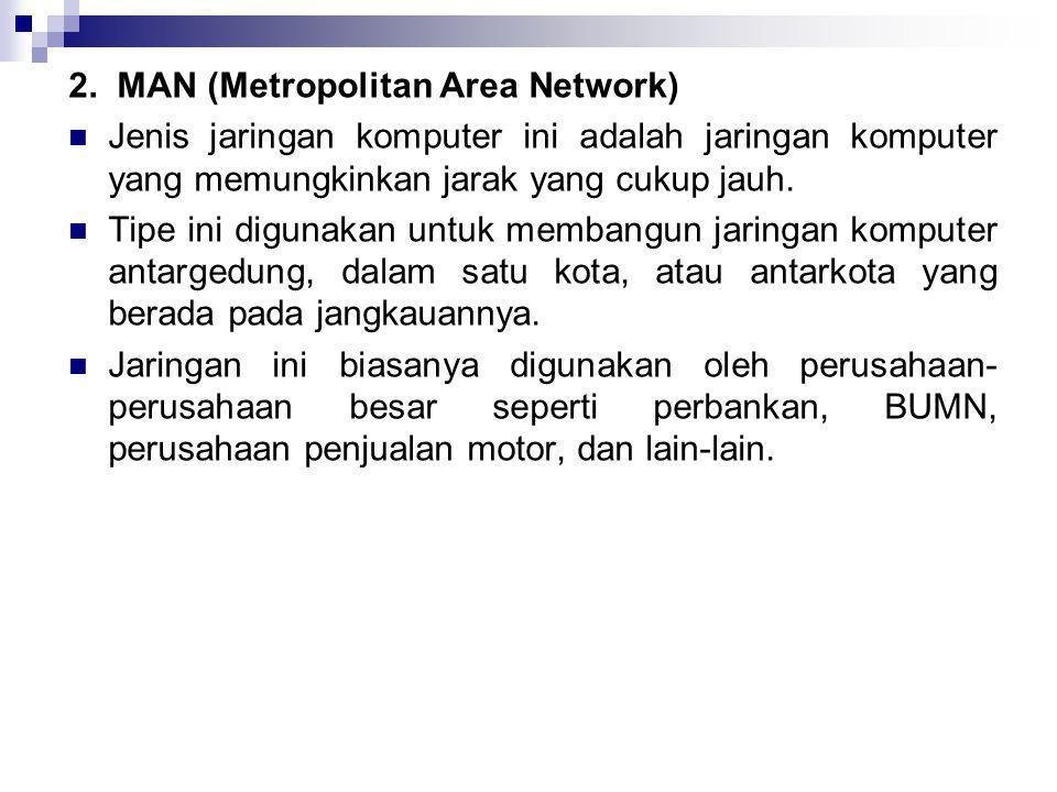 2. MAN (Metropolitan Area Network)  Jenis jaringan komputer ini adalah jaringan komputer yang memungkinkan jarak yang cukup jauh.  Tipe ini digunaka