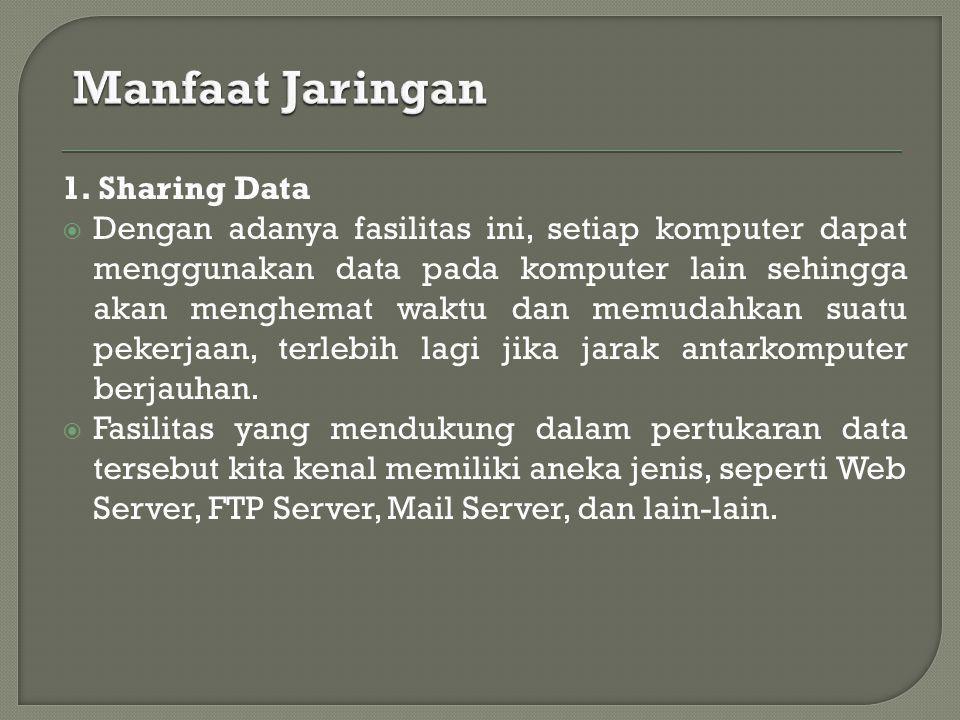 1. Sharing Data  Dengan adanya fasilitas ini, setiap komputer dapat menggunakan data pada komputer lain sehingga akan menghemat waktu dan memudahkan