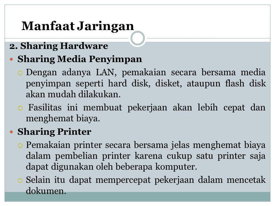 Manfaat Jaringan 2. Sharing Hardware  Sharing Media Penyimpan  Dengan adanya LAN, pemakaian secara bersama media penyimpan seperti hard disk, disket