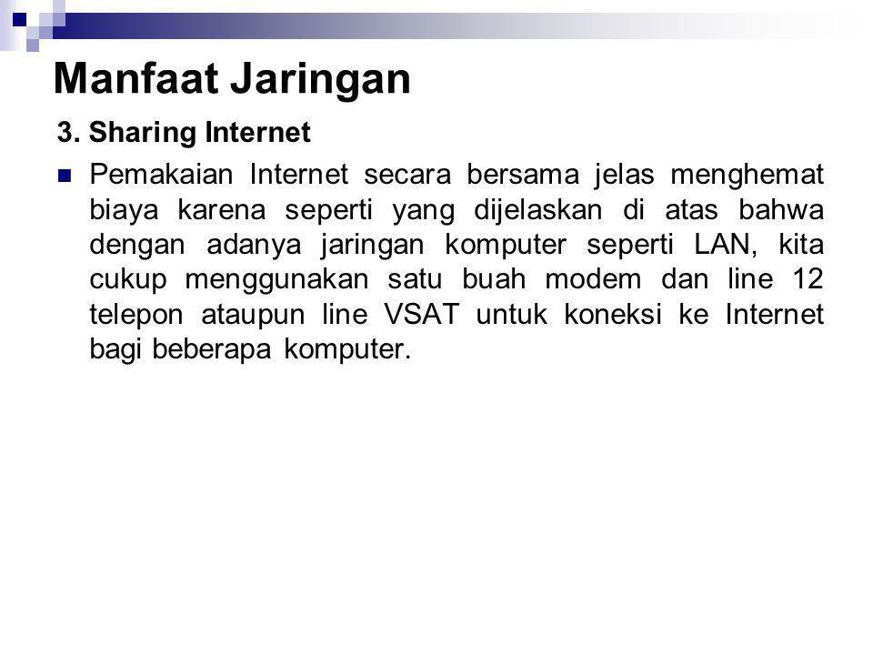 Manfaat Jaringan 3. Sharing Internet  Pemakaian Internet secara bersama jelas menghemat biaya karena seperti yang dijelaskan di atas bahwa dengan ada