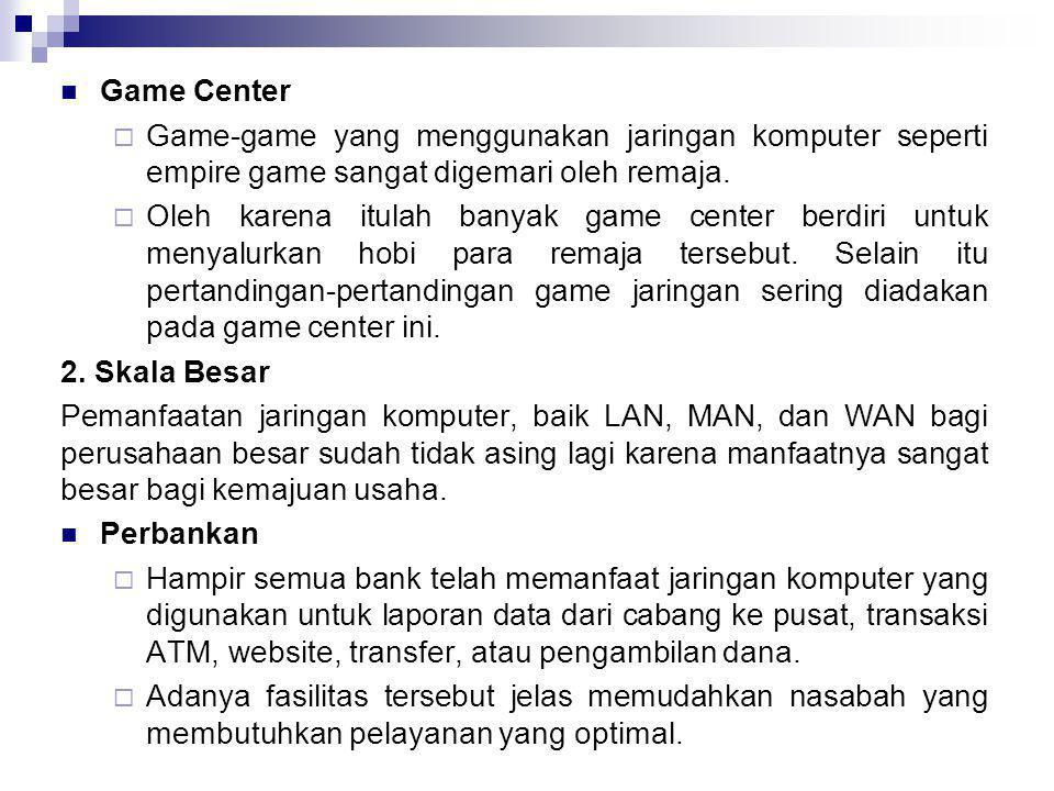  Game Center  Game-game yang menggunakan jaringan komputer seperti empire game sangat digemari oleh remaja.  Oleh karena itulah banyak game center