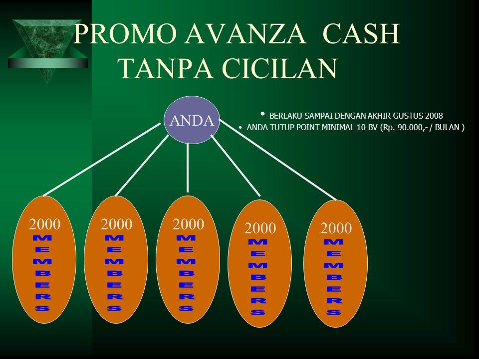PROMO AVANZA CASH TANPA CICILAN ANDA 2000 • BERLAKU SAMPAI DENGAN AKHIR GUSTUS 2008 • ANDA TUTUP POINT MINIMAL 10 BV (Rp. 90.000,- / BULAN )