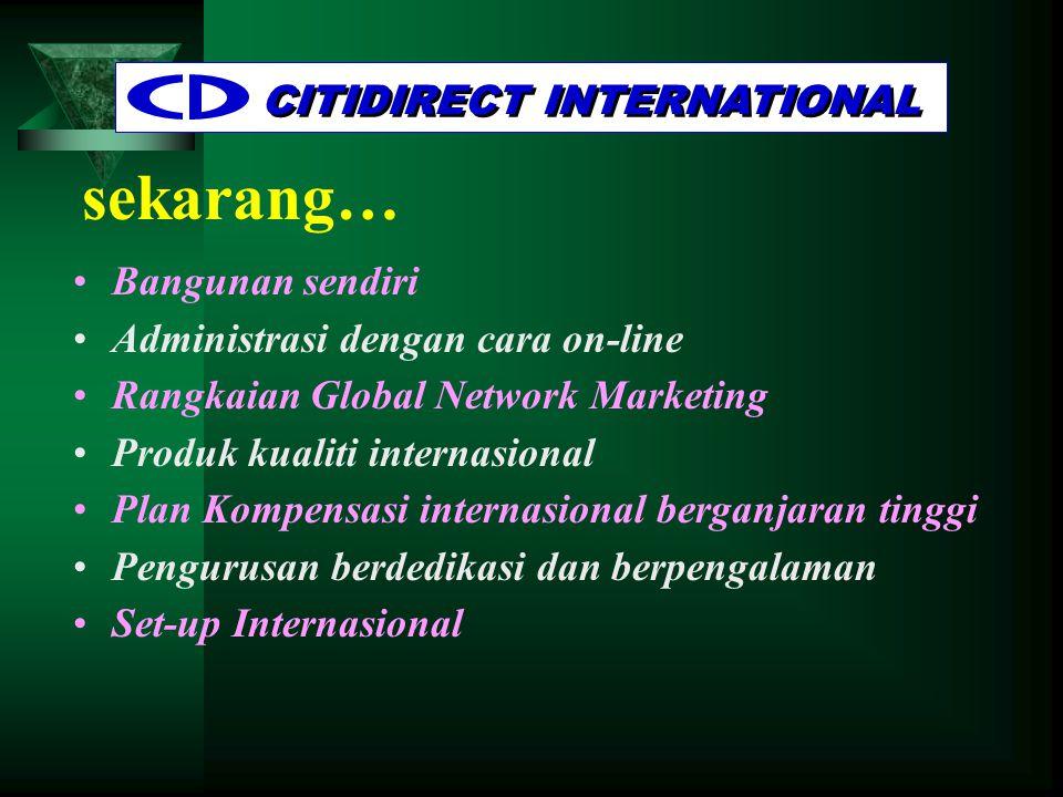 sekarang… CITIDIRECT INTERNATIONAL •Bangunan sendiri •Administrasi dengan cara on-line •Rangkaian Global Network Marketing •Produk kualiti internasional •Plan Kompensasi internasional berganjaran tinggi •Pengurusan berdedikasi dan berpengalaman •Set-up Internasional
