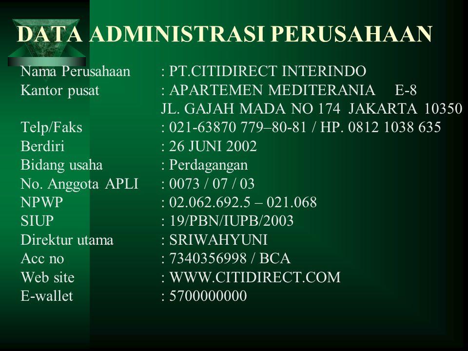 DATA ADMINISTRASI PERUSAHAAN Nama Perusahaan: PT.CITIDIRECT INTERINDO Kantor pusat: APARTEMEN MEDITERANIA E-8 JL. GAJAH MADA NO 174 JAKARTA 10350 Telp