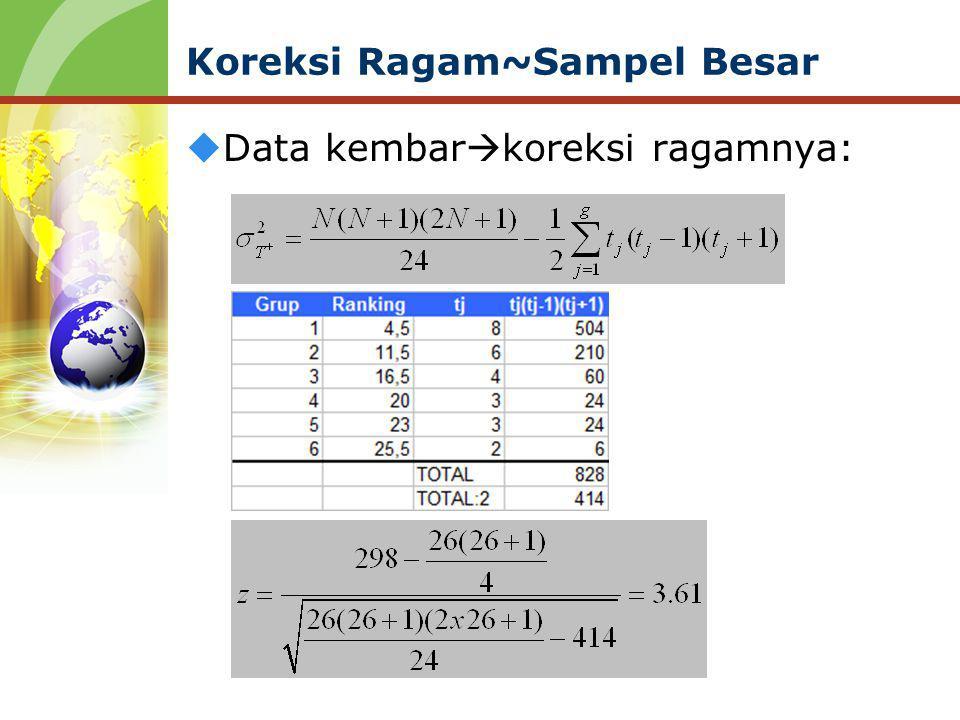 Koreksi Ragam~Sampel Besar  Data kembar  koreksi ragamnya: