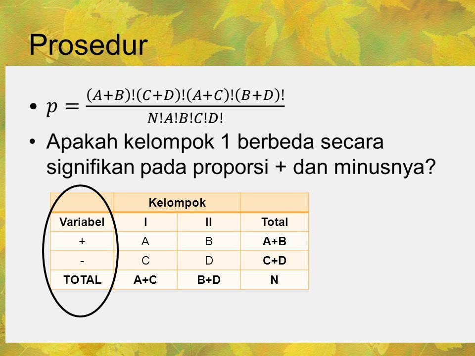 Prosedur • Kelompok VariabelIIITotal +ABA+B -CDC+D TOTALA+CB+DN