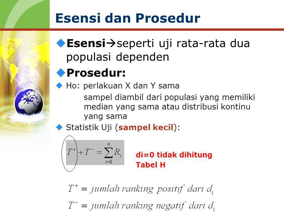  Esensi  seperti uji rata-rata dua populasi dependen  Prosedur:  Ho: perlakuan X dan Y sama sampel diambil dari populasi yang memiliki median yang