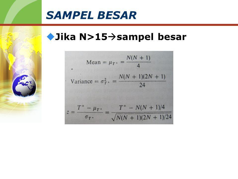 SAMPEL BESAR  Jika N>15  sampel besar