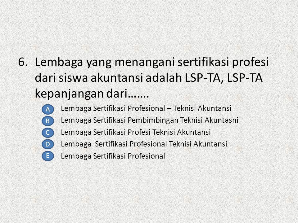 5. Seroang yang memiliki kompetensi dalam suatu pekerjaaan tertentu adalah definisi dari ……… profesional Kode etik Prinsip kerja 'teknisi Tekniisi aku