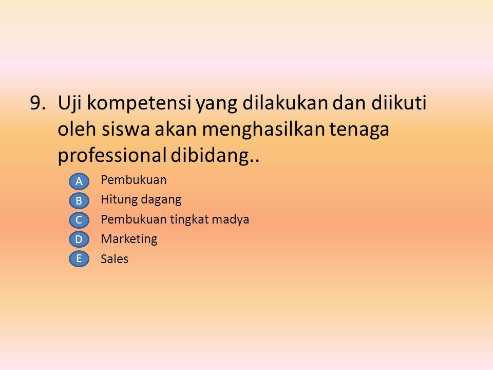 8.Menjadi seorang profesi salah satu syaratnya adalah memiliki kompetensi, sedang salah satu syarat yang lain adalah….