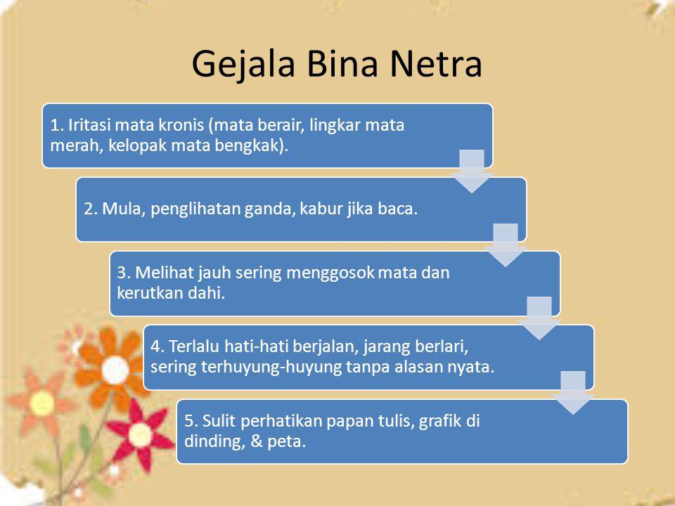 Gejala Bina Netra 1. Iritasi mata kronis (mata berair, lingkar mata merah, kelopak mata bengkak).