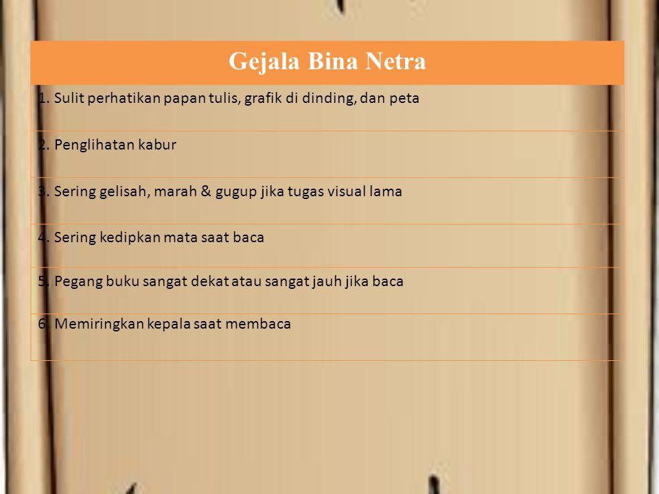 Gejala Bina Netra 1. Sulit perhatikan papan tulis, grafik di dinding, dan peta 2.