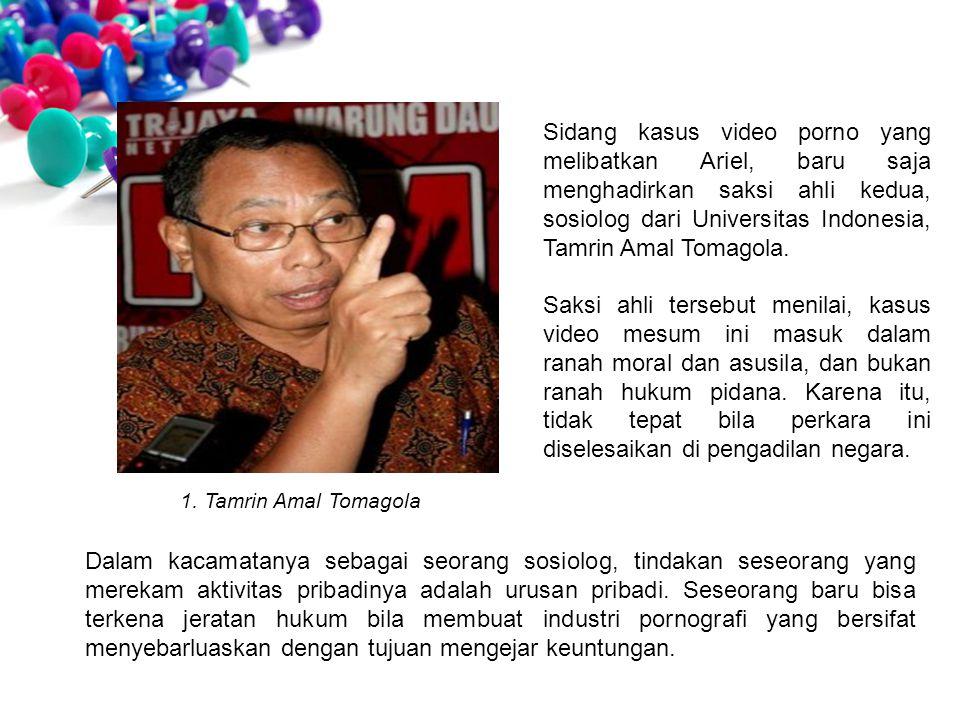Sidang kasus video porno yang melibatkan Ariel, baru saja menghadirkan saksi ahli kedua, sosiolog dari Universitas Indonesia, Tamrin Amal Tomagola. Sa
