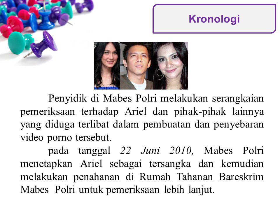 Kepala Bidang Penerangan Umum (Kabid Penum) Polri, Kombes Pol Marwoto Soeto di Jakarta menyatakan bahwa penyidik Polri mencabut UU ITE Nomor 11 Tahun 2008 tentang Informasi dan Transaksi Elektronik yang pernah dijeratkan kepada Ariel, Luna Maya dan Cut Tari.