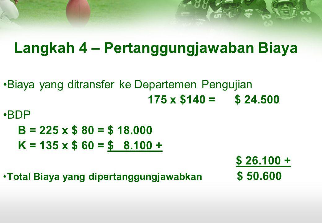 Langkah 4 – Pertanggungjawaban Biaya •Biaya yang ditransfer ke Departemen Pengujian 175 x $140 = $ 24.500 •BDP B = 225 x $ 80 = $ 18.000 K = 135 x $ 6