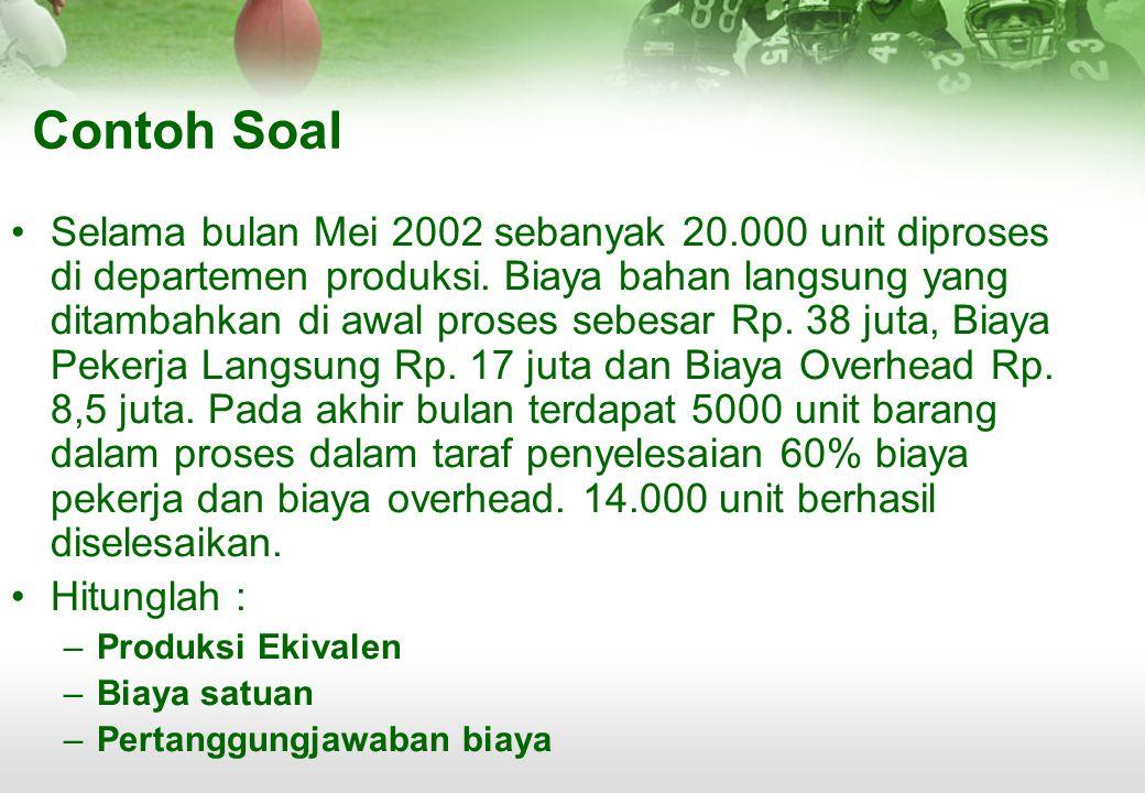 Contoh Soal •Selama bulan Mei 2002 sebanyak 20.000 unit diproses di departemen produksi. Biaya bahan langsung yang ditambahkan di awal proses sebesar