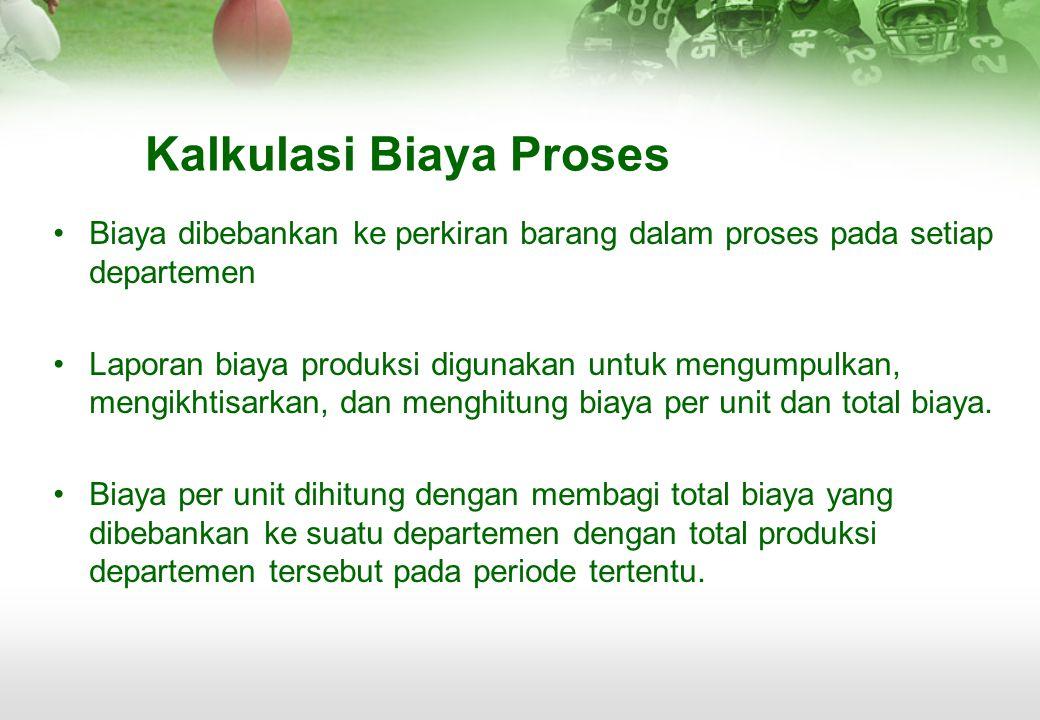 Kalkulasi Biaya Proses •Biaya dibebankan ke perkiran barang dalam proses pada setiap departemen •Laporan biaya produksi digunakan untuk mengumpulkan,