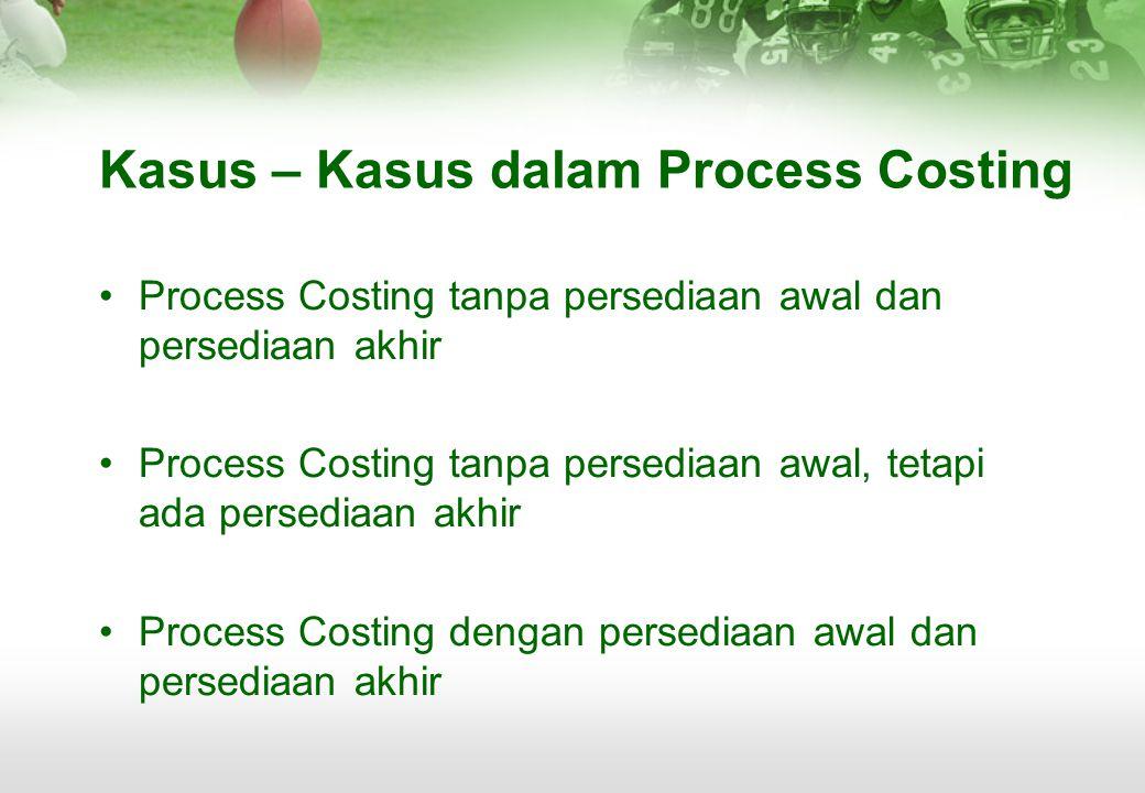 Kasus – Kasus dalam Process Costing •P•Process Costing tanpa persediaan awal dan persediaan akhir •P•Process Costing tanpa persediaan awal, tetapi ada