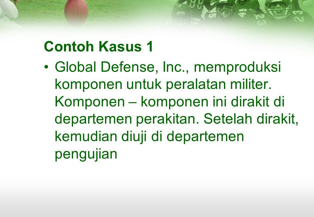 Contoh Kasus 1 •Global Defense, Inc., memproduksi komponen untuk peralatan militer. Komponen – komponen ini dirakit di departemen perakitan. Setelah d