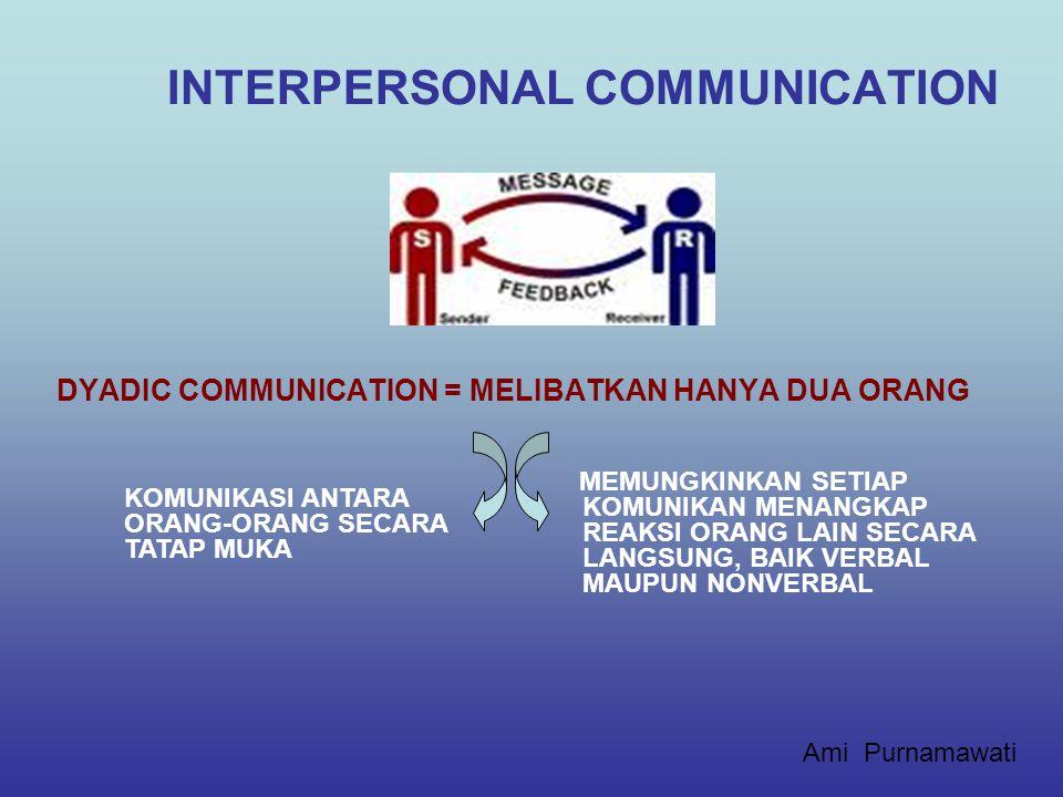 INTERPERSONAL COMMUNICATION (KOMUNIKASI ANTARPERSONA) PERTEMUAN KE-5 Ami Purnamawati