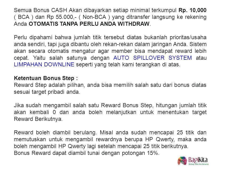 Semua Bonus CASH Akan dibayarkan setiap minimal terkumpul Rp.