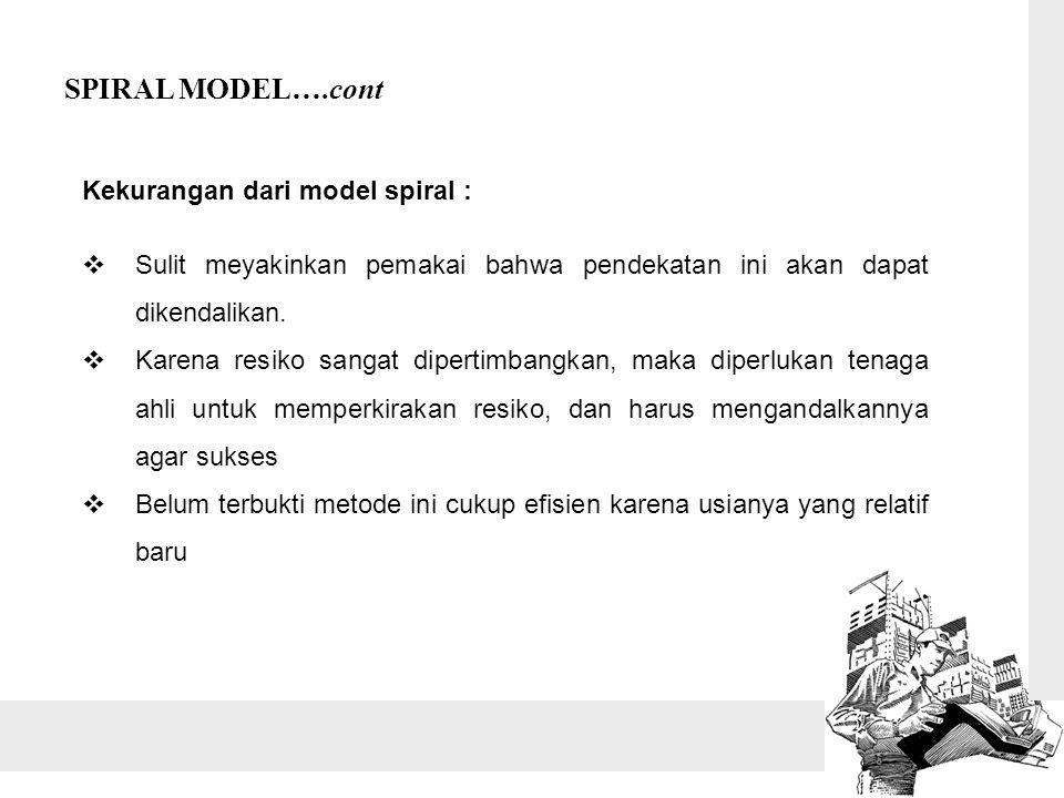 Kekurangan dari model spiral :  Sulit meyakinkan pemakai bahwa pendekatan ini akan dapat dikendalikan.
