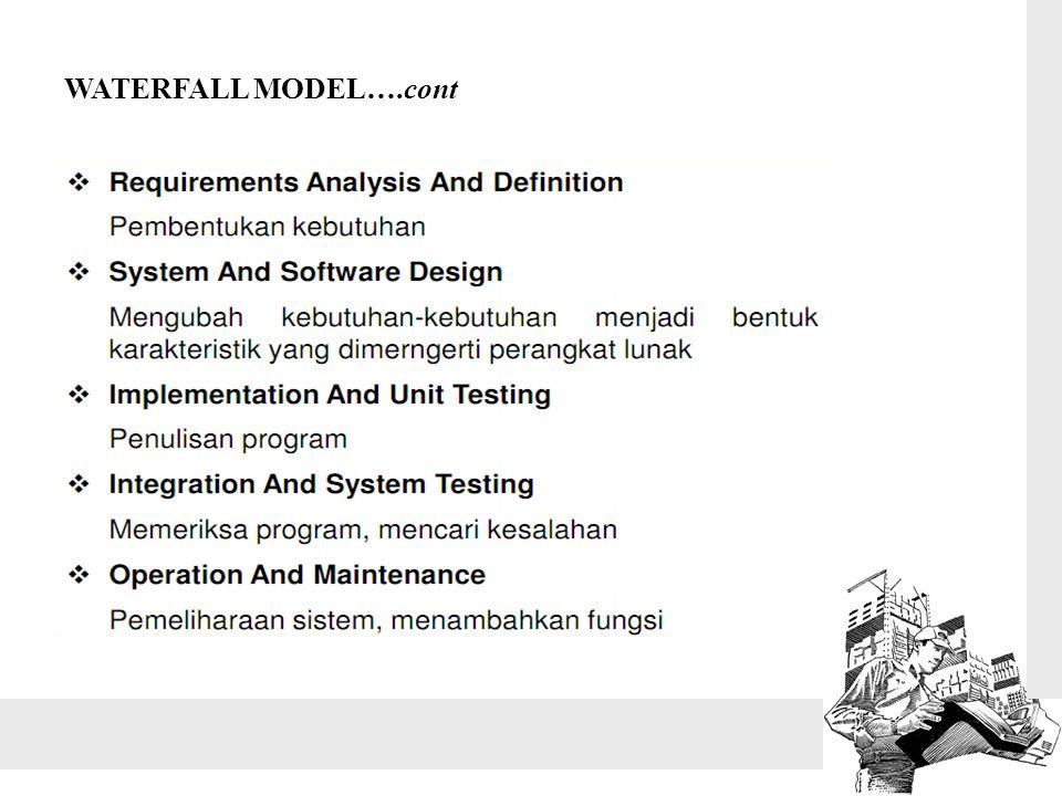 Kelebihan dari model waterfall : Apabila kebutuhan sistem dapat didefenisikan secara utuh, eksplisit dan benar di awal project, maka Software Engineering dapat berjalan dengan baik dan tanpa masalah.