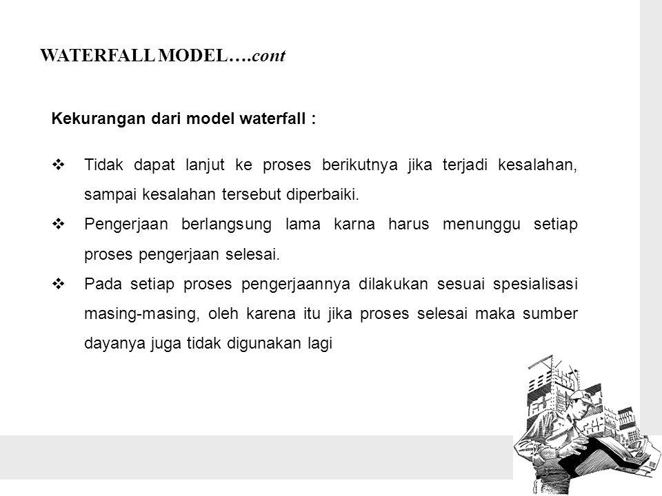 WATERFALL MODEL….cont Kekurangan dari model waterfall :  Tidak dapat lanjut ke proses berikutnya jika terjadi kesalahan, sampai kesalahan tersebut diperbaiki.