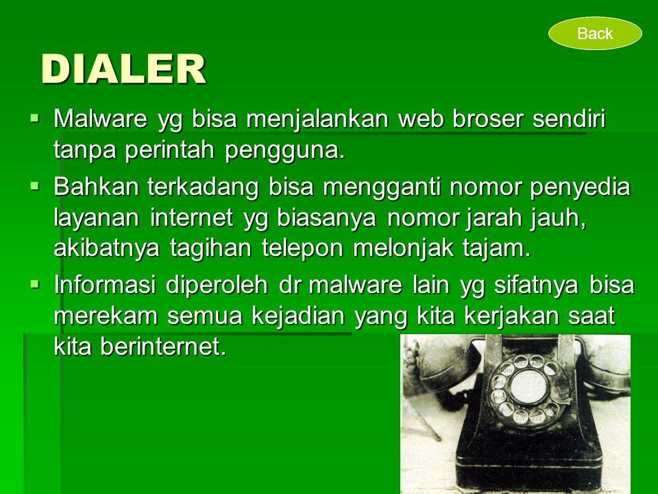 DIALER  Malware yg bisa menjalankan web broser sendiri tanpa perintah pengguna.  Bahkan terkadang bisa mengganti nomor penyedia layanan internet yg