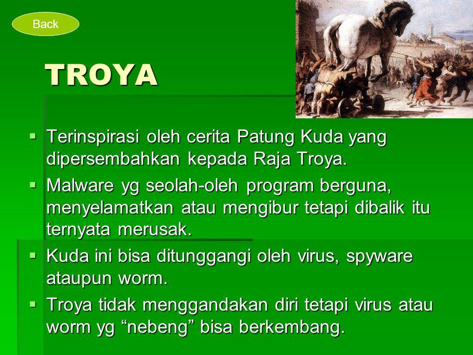TROYA  Terinspirasi oleh cerita Patung Kuda yang dipersembahkan kepada Raja Troya.  Malware yg seolah-oleh program berguna, menyelamatkan atau mengi