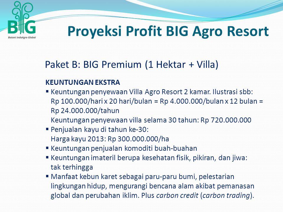 Proyeksi Profit BIG Agro Resort KEUNTUNGAN EKSTRA  Keuntungan penyewaan Villa Agro Resort 2 kamar. Ilustrasi sbb: Rp 100.000/hari x 20 hari/bulan = R