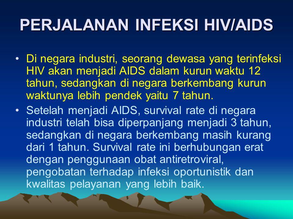 •Di negara industri, seorang dewasa yang terinfeksi HIV akan menjadi AIDS dalam kurun waktu 12 tahun, sedangkan di negara berkembang kurun waktunya le