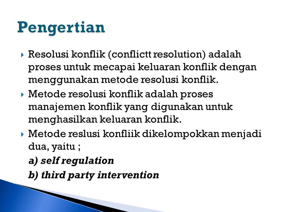  Resolusi konflik (conflictt resolution) adalah proses untuk mecapai keluaran konflik dengan menggunakan metode resolusi konflik.  Metode resolusi k