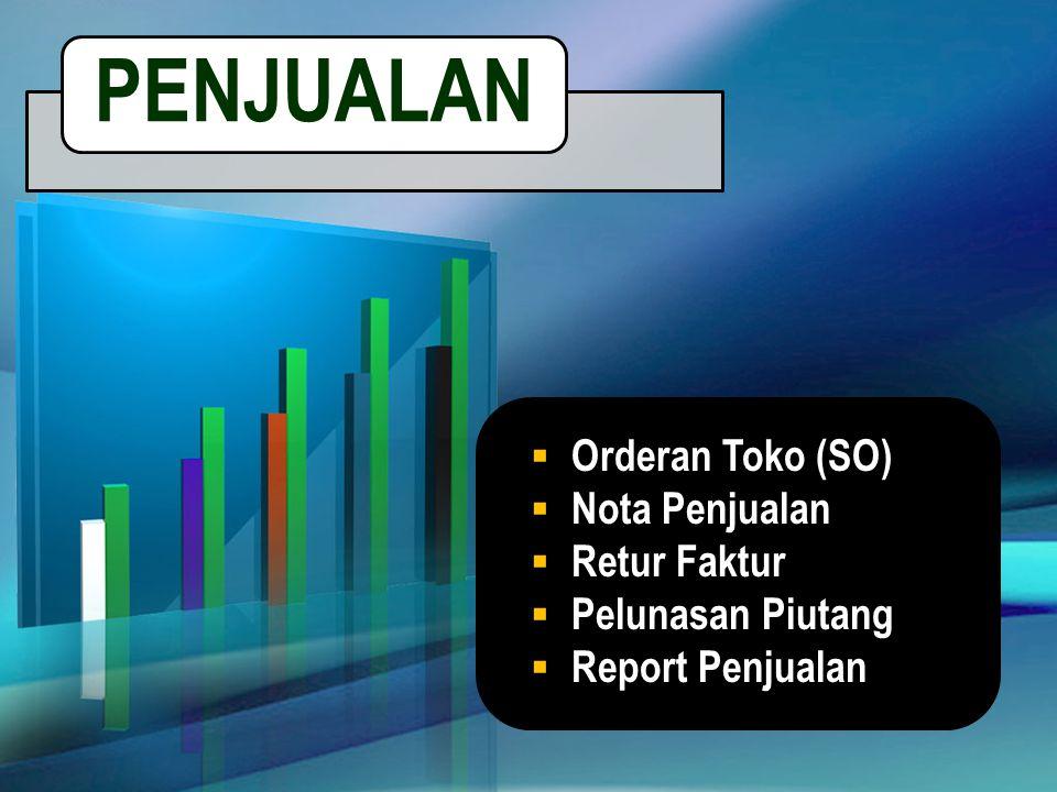  Orderan Toko (SO)  Nota Penjualan  Retur Faktur  Pelunasan Piutang  Report Penjualan PENJUALAN