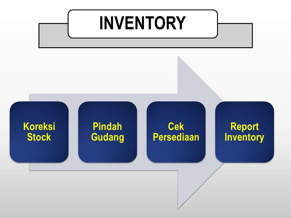 Koreksi Stock Pindah Gudang Cek Persediaan Report Inventory INVENTORY