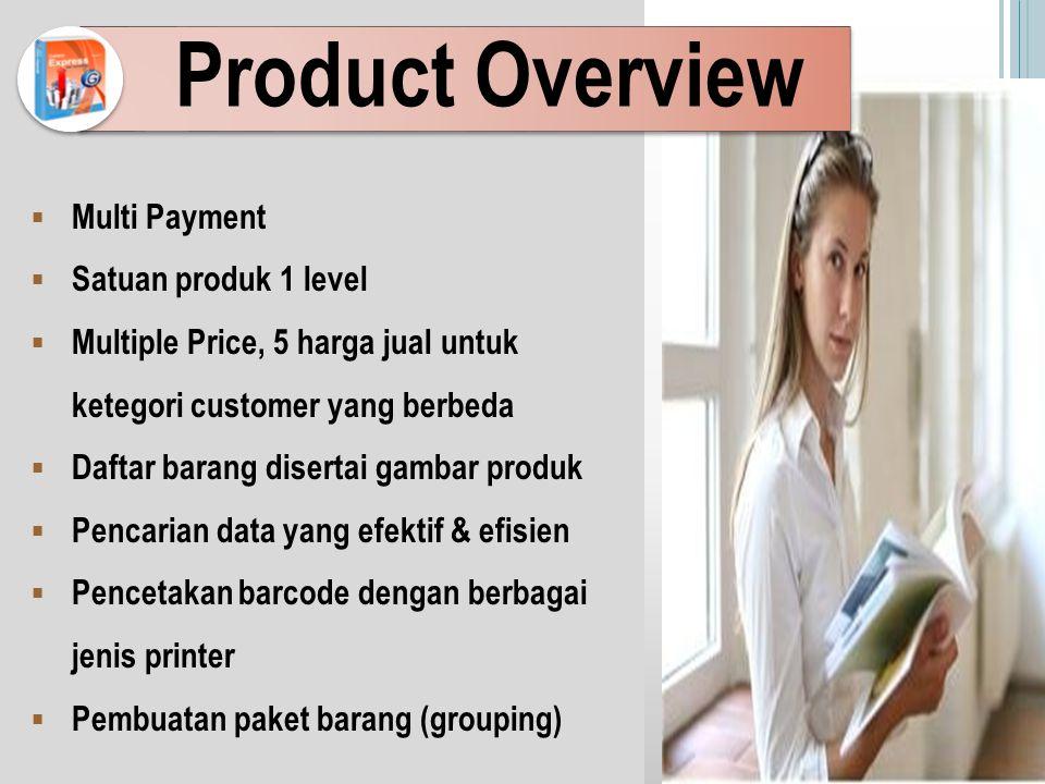 Product Overview  Multi Payment  Satuan produk 1 level  Multiple Price, 5 harga jual untuk ketegori customer yang berbeda  Daftar barang disertai gambar produk  Pencarian data yang efektif & efisien  Pencetakan barcode dengan berbagai jenis printer  Pembuatan paket barang (grouping)