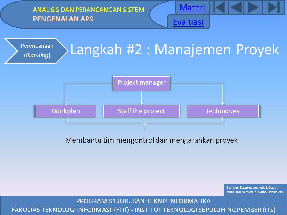 PROGRAM S1 JURUSAN TEKNIK INFORMATIKA FAKULTAS TEKNOLOGI INFORMASI (FTIf) - INSTITUT TEKNOLOGI SEPULUH NOPEMBER (ITS) Langkah #2 : Manajemen Proyek Pe