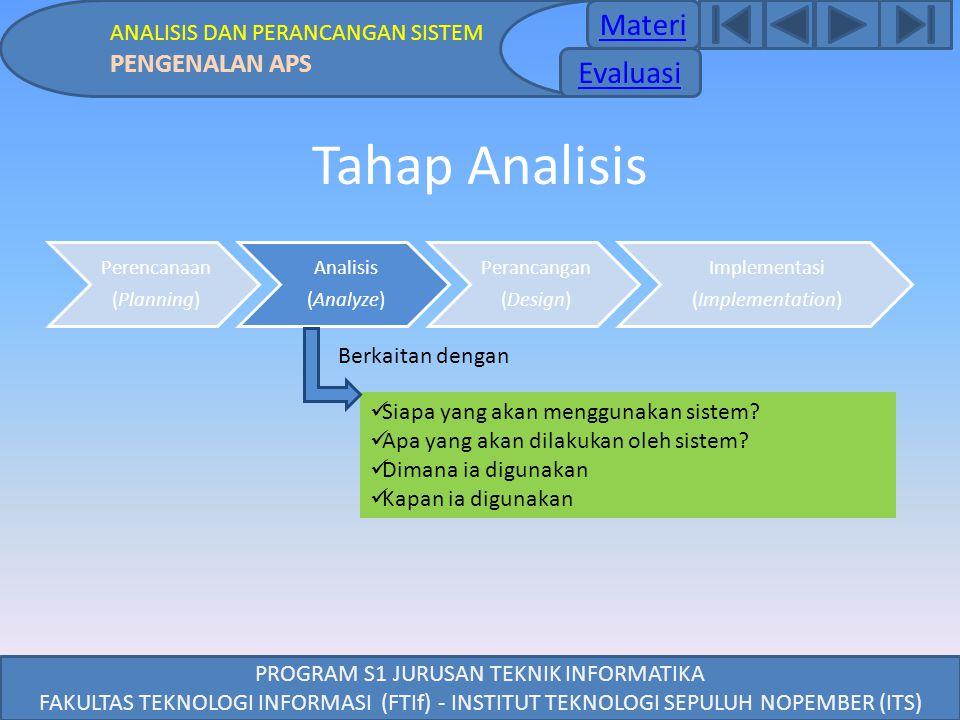 PROGRAM S1 JURUSAN TEKNIK INFORMATIKA FAKULTAS TEKNOLOGI INFORMASI (FTIf) - INSTITUT TEKNOLOGI SEPULUH NOPEMBER (ITS) Tahap Analisis Perencanaan (Plan