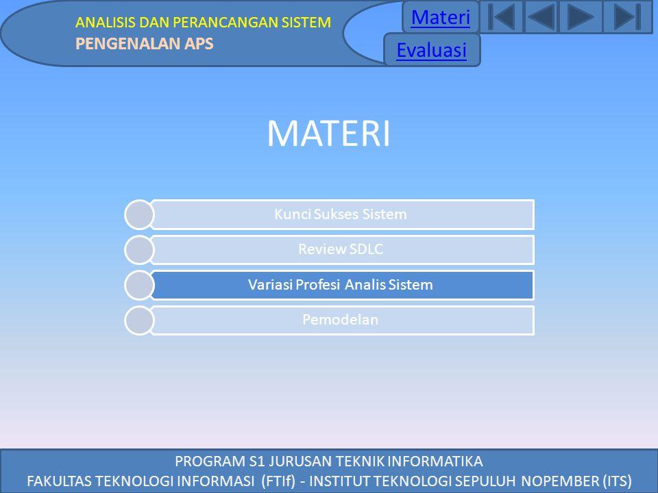 Materi ANALISIS DAN PERANCANGAN SISTEM PENGENALAN APS PROGRAM S1 JURUSAN TEKNIK INFORMATIKA FAKULTAS TEKNOLOGI INFORMASI (FTIf) - INSTITUT TEKNOLOGI S