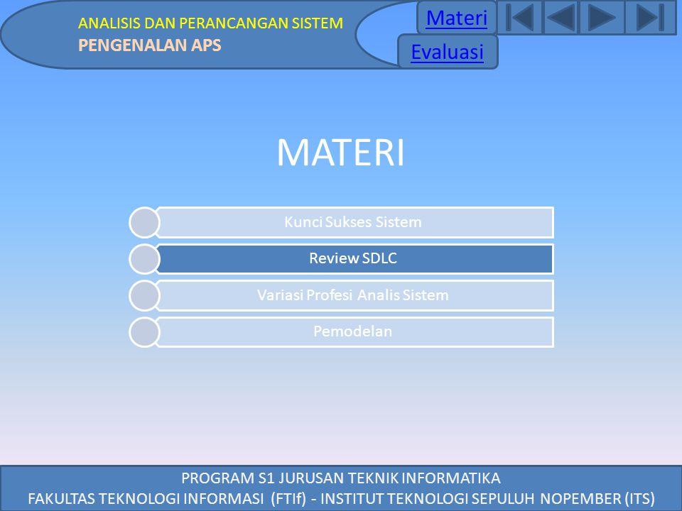 PROGRAM S1 JURUSAN TEKNIK INFORMATIKA FAKULTAS TEKNOLOGI INFORMASI (FTIf) - INSTITUT TEKNOLOGI SEPULUH NOPEMBER (ITS) MATERI Kunci Sukses Sistem Revie