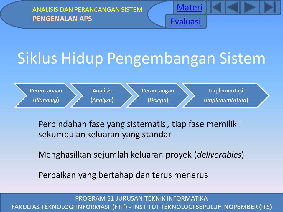 PROGRAM S1 JURUSAN TEKNIK INFORMATIKA FAKULTAS TEKNOLOGI INFORMASI (FTIf) - INSTITUT TEKNOLOGI SEPULUH NOPEMBER (ITS) Siklus Hidup Pengembangan Sistem