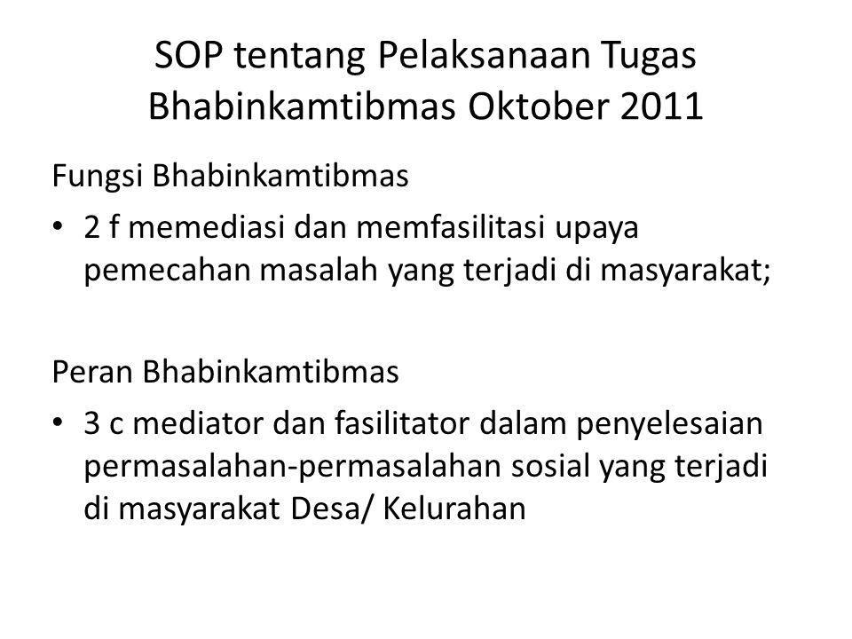 SOP tentang Pelaksanaan Tugas Bhabinkamtibmas Oktober 2011 Fungsi Bhabinkamtibmas • 2 f memediasi dan memfasilitasi upaya pemecahan masalah yang terja