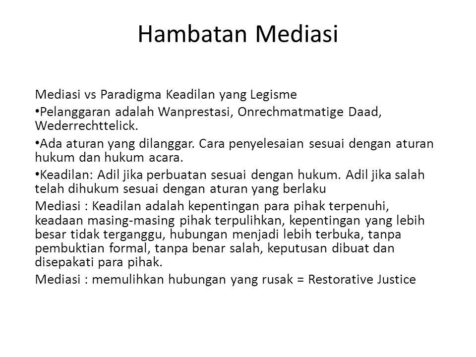 Hambatan Mediasi Mediasi vs Paradigma Keadilan yang Legisme • Pelanggaran adalah Wanprestasi, Onrechmatmatige Daad, Wederrechttelick. • Ada aturan yan