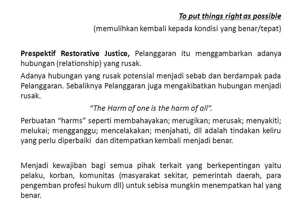 Restorative Justice Peduli : PELAKU, KORBAN, KOMUNITAS HARMS, NEEDS, OBLIGATIONS sebisa mungkin menempatkan hal yang benar dan tepat dalam rangka memulihkan Restorative Justice tidak dimaksudkan menggatikan CJS.