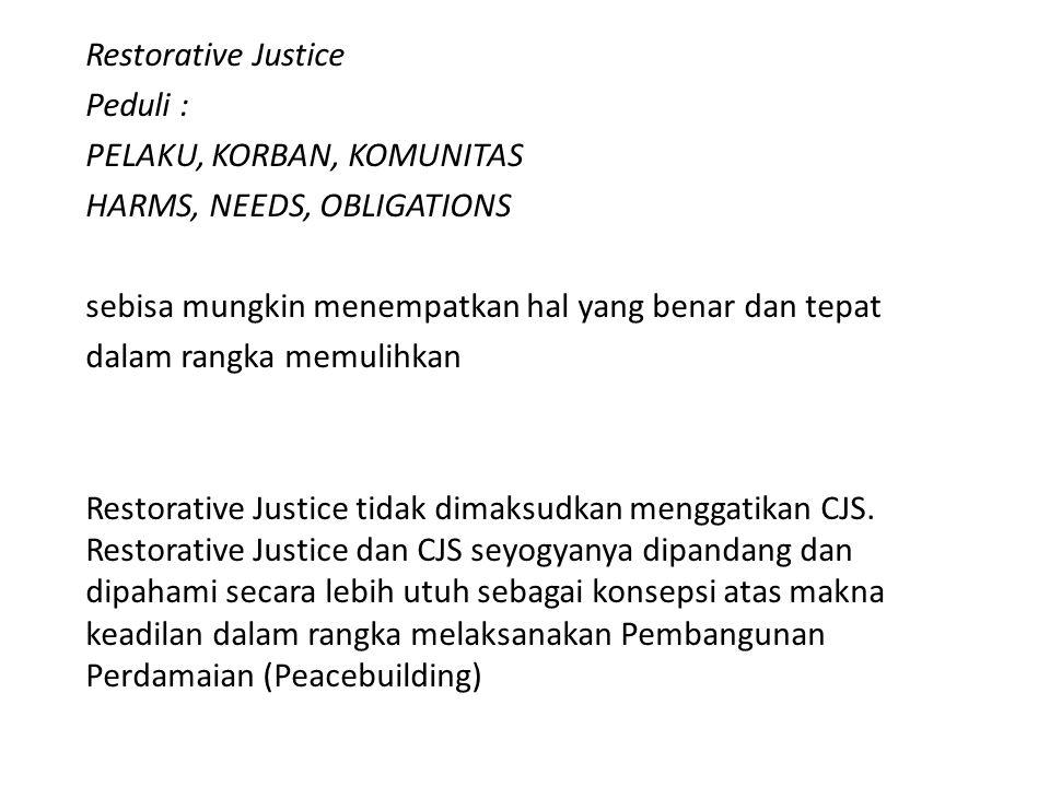 Restorative Justice Peduli : PELAKU, KORBAN, KOMUNITAS HARMS, NEEDS, OBLIGATIONS sebisa mungkin menempatkan hal yang benar dan tepat dalam rangka memu