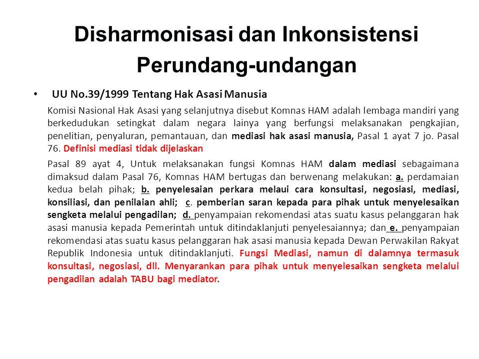 Disharmonisasi dan Inkonsistensi Perundang-undangan • UU No.39/1999 Tentang Hak Asasi Manusia Komisi Nasional Hak Asasi yang selanjutnya disebut Komna