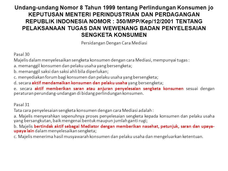 Undang-undang Nomor 8 Tahun 1999 tentang Perlindungan Konsumen jo KEPUTUSAN MENTERI PERINDUSTRIAN DAN PERDAGANGAN REPUBLIK INDONESIA NOMOR : 350/MPP/K