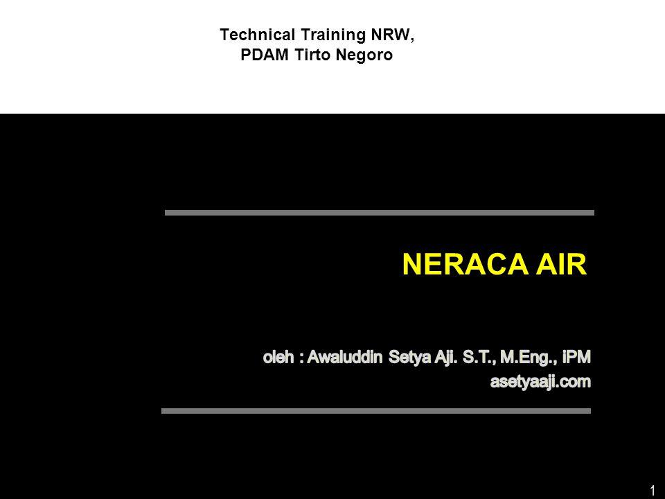 12 KEGUNAAN NERACA AIR  Referensi yang lebih baik untuk menilai tingkat NRW pada setiap sistem penyediaan air minum  Bisa dibandingkan  Bisa memperkirakan komponen NRW dengan lebih baik  Penyusunan strategi penurunan NRW  Menimbulkan kesadaran pentingnya penurunan NRW