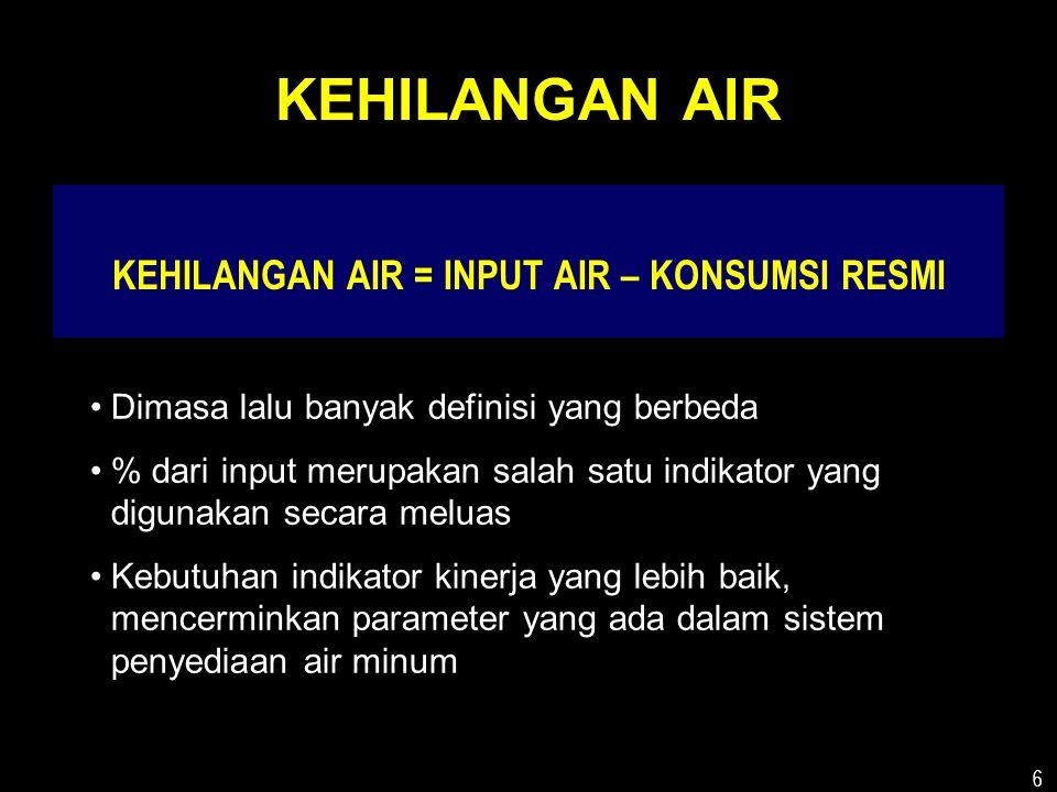 6 KEHILANGAN AIR KEHILANGAN AIR = INPUT AIR – KONSUMSI RESMI •Dimasa lalu banyak definisi yang berbeda •% dari input merupakan salah satu indikator yang digunakan secara meluas •Kebutuhan indikator kinerja yang lebih baik, mencerminkan parameter yang ada dalam sistem penyediaan air minum