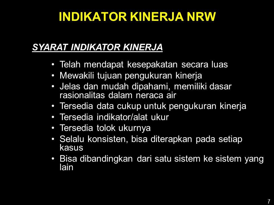 8 INISIATIF INTERNATIONAL WATER ASSOCIATAION •1995/1996; IWA (dulu IWSA) menyadari akan kebutuhan IK yang lebih baik •1996; Task Force terhadap masalah NRW •1997; perumusan IK ditetapkan •1997-2000; > 100 peserta dari > 50 negara > 20 workshop •2000; Manual Best Practice